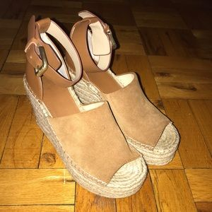 Marc Fisher Brown Suede Wedges